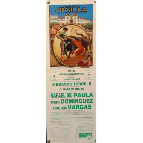 PLAZA DE TOROS DE SEVILLA 2 JUNIO 1988  MED 17X 45 CTN