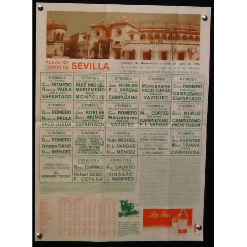 PLAZA DE TOROS DE SEVILLA ABRIL 1986.- MED 33X44 CTM