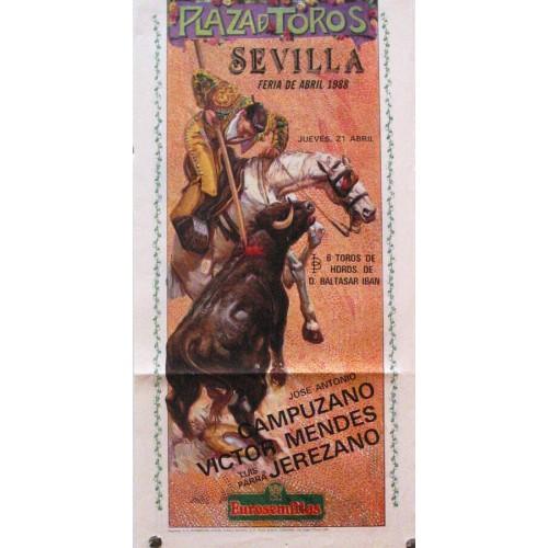PLAZA DE TOROS DE SEVILLA  MED 21X 45 CTM año 1988.-