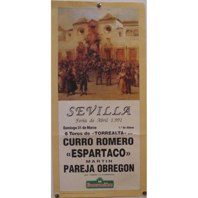 PLAZA DE TOROS DE SEVILLA 31 MARZO 1991 MED 21X 45 CTM