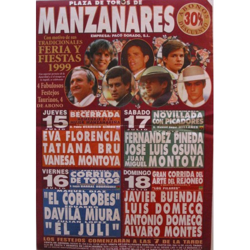 PLA DE TOROS DE MANZANARES.- 18 JULIO 1999.- MED 44X 64 CTM