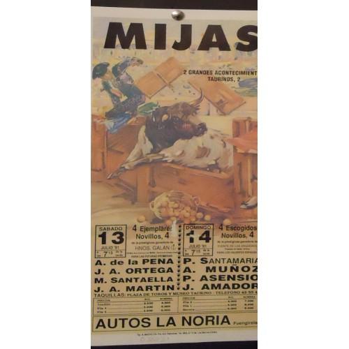 PLA. DE TOROS DE MIJAS .- -13 Y 14 JULIO-91 17X34CTM