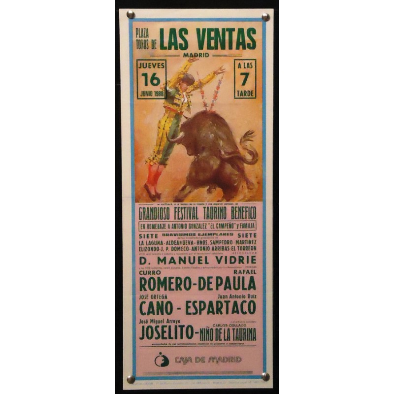 PLAZA DE TOROS DE MADRID.-16 JUNIO 1988.- MED 18X34 CTM