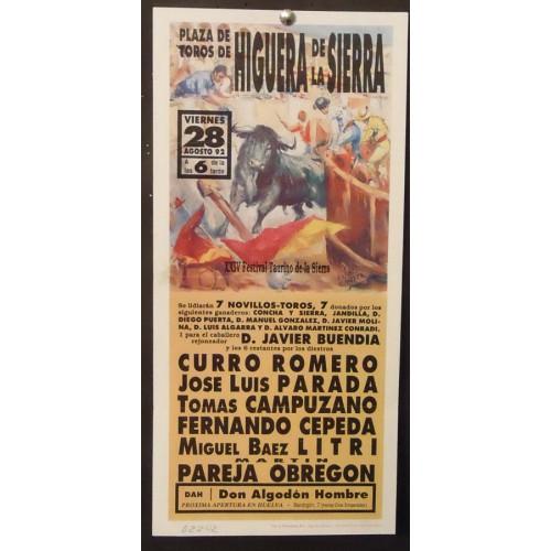 PLAZ DE TOROS DE HIGUERA DE LA SIERRA.- 28-8-92.- 17X43 CTM