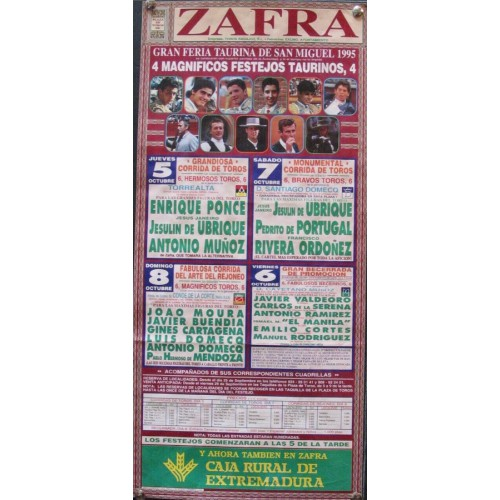 PLAZ DE TOROS DE ZAFRA.- 6  AL 8 -10-95 MED 20X 45 CTM