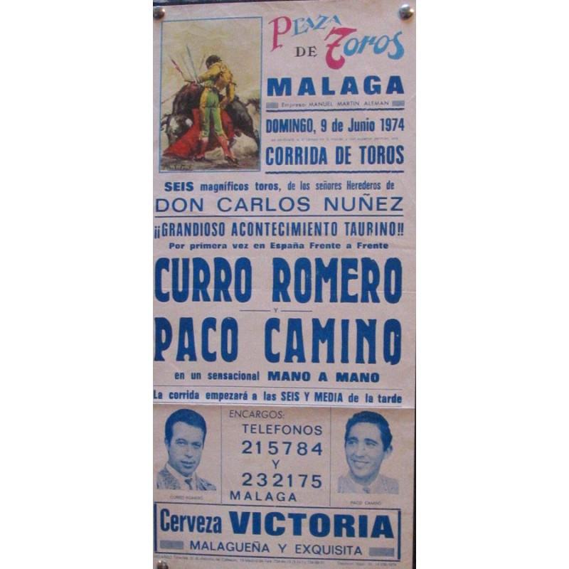 PLAZ DE TOROS DE MALAGA- 9 JUNIO 1974- MED 20X44 CTM