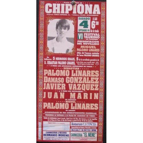 PLAZ DE TOROS DE CHIPIONA.- 4 SEPT.- 1999.- MED 15X 30 CTM