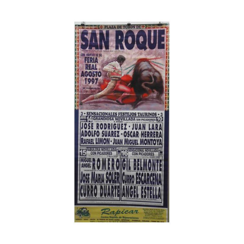 CARTEL PLAZA TOROS SAN ROQUE 4 AGOSTO 1997 MED 190X90