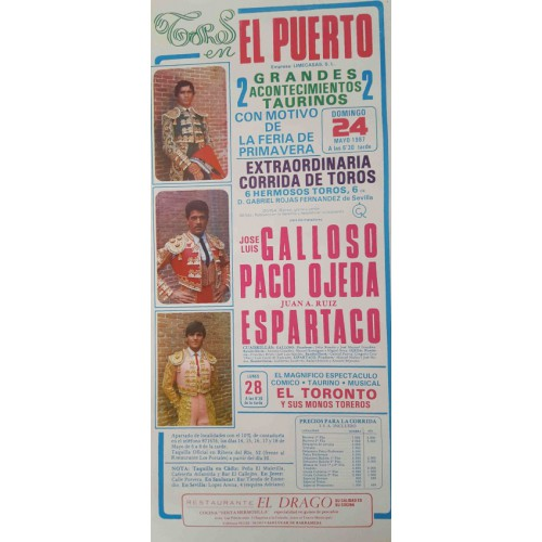 PLAZA DE TOROS DE PTO.STA MARIA 24/5/1987 med 22x45ctm