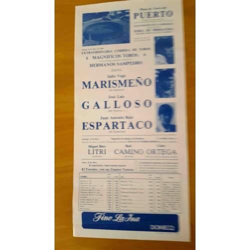 PLAZA TOROS PTO.STA MARIA 24/5/1986.- ME22X45CTM
