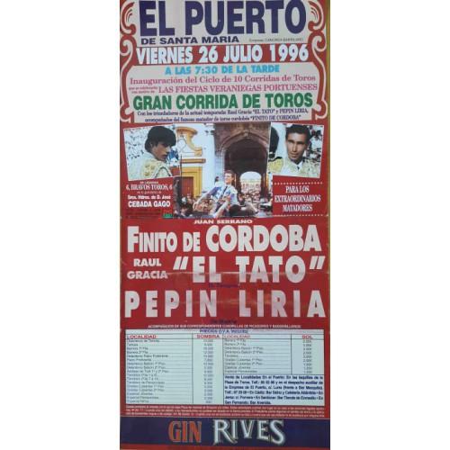PLA DE TOROS PTO.STA MARIA 26/7/1996 MED 22X45CTM