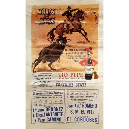 PLAZA DE TOROSD DE JEREZ DE LA FTRA 8Y10SEP.1967 ME 30X50CTM SEDA