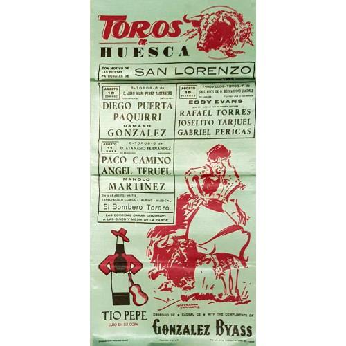PLAZA DE TOROS HUESCA 10-11-12-Y15AGOSTO1969MED25X50CTMSEDA