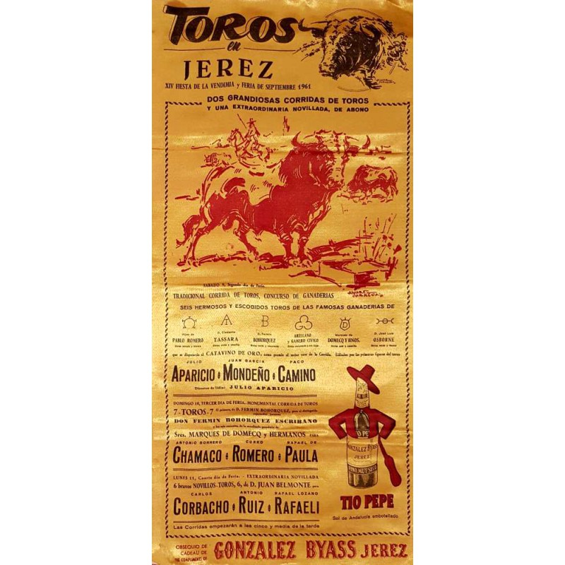 PLAZA DE TOROS DE JEREZ 9-10-11SEP-1961 MED 25X50CTM SEDA