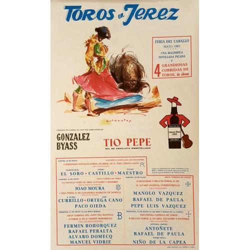 PLAZA DE TOROS DE JEREZ DEL 14AL17MAYO 1981-MED 30X50CTM SEDA
