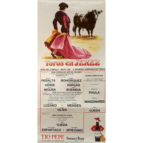 PLAZA DE TYOROS DE JEREZ DEL 14AL17 MAYO 1987 MED 25X30CTM-SEDA