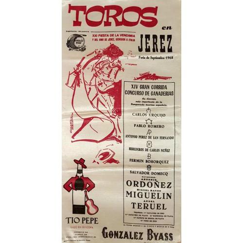 PLAZA DE TOROS JEREZ DE LA FTRA SEP 1968-MED 25X30CTM SEDA