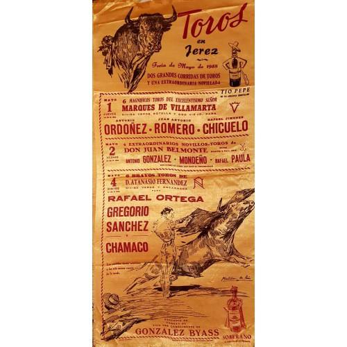 PLAZA DE TOROS DE JEREZ DE LA FTRA 1-2-Y4MAYO1958 MED 25X50CTM SEDA
