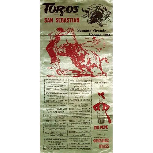 PLAZA DE TOROS DE SAN SEBASTIAN DEL2 AGOSTO AL 6 SEP. 1964 MED 25X50CTM SEDA