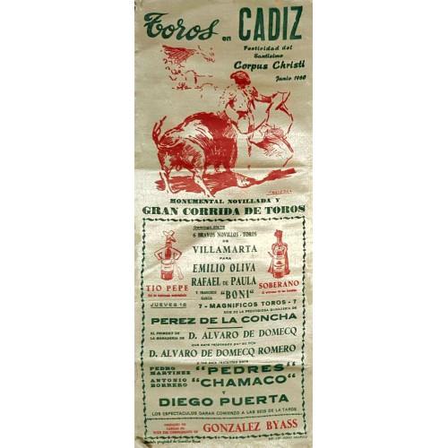 PLAZA DE TOROS DE CADIZ 12JUNIO1960 MED 15X37CTM SEDA