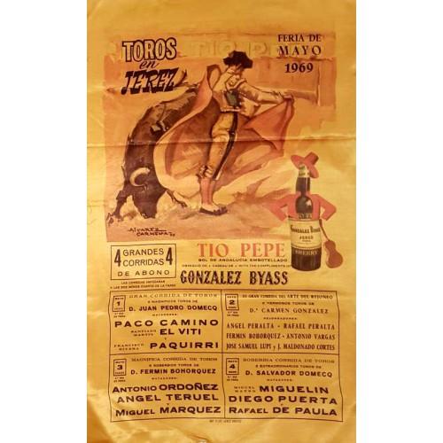 1969 PLAZA DE TOROS DE JEREZ DE LA FTRA DEL 1 AL 4 MAYO 1969 MED 25X50CTM SEDA