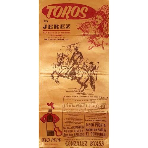 1971 PLAZA DE TOROS DE JEREZ DE LA FTRA 11Y12 SEP 1971 MED 25X50CTM SEDA