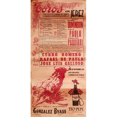 1973 PLAZA DE TOROS DE JEREZ DE LA FTRA 8Y9 SEP. 1973 MED 25X50CTM SEDA