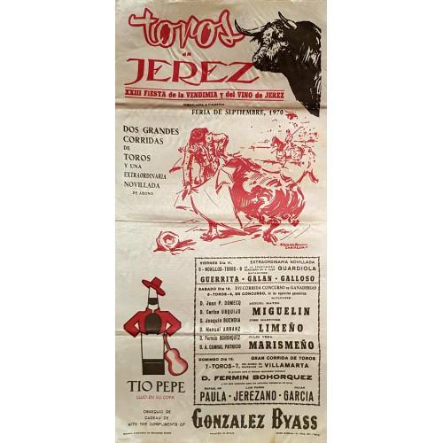 1970 PLAZA DE TOROS DE JEREZ DE LA FTRA 11-12-13 SEP 1970.- MED 25X50CTM SEDA