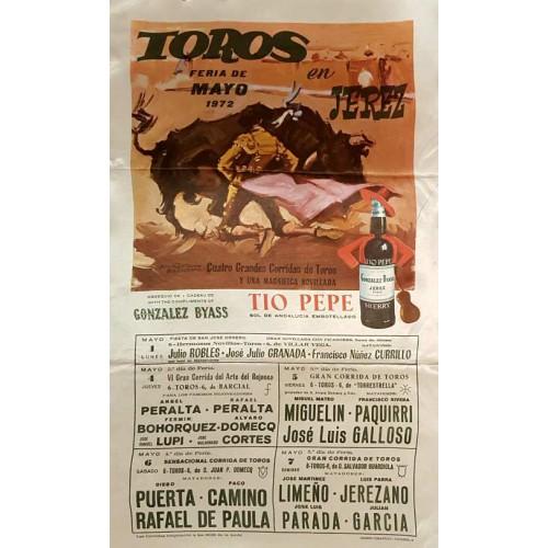 1972 PLAZA DE TOROS DE JEREZ DE LA FTRA DEL 1 AL 7 MAYO 1972.- MED 25X50CTM SEDA