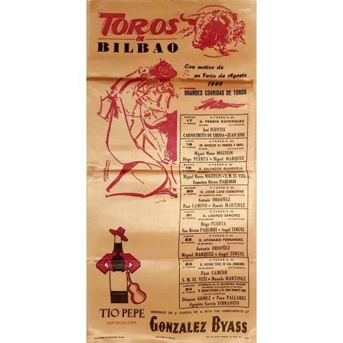 1969 PLAZA DE TOROS DE BILBAO DEL 17AL24 AGOSTO1969MED 25X50CTM SEDA