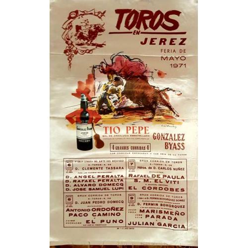 1971 PLAZA DE TOROS DE JEREZ DE LA FTRA 6Y9 MAYO1971 MED 25X50CTM SEDA