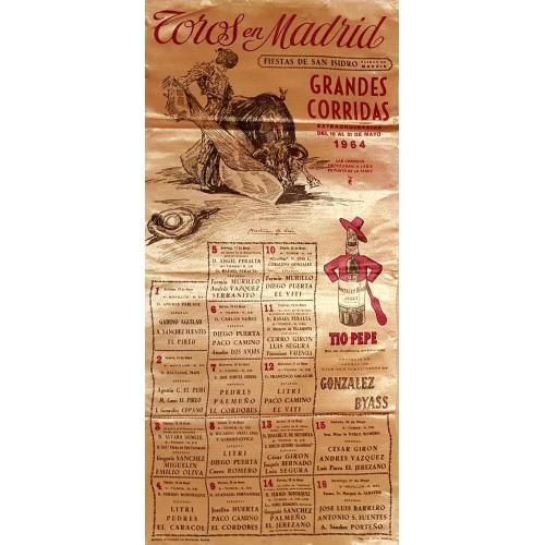 1964 PLAZA DE TOROS DE MADRID DEL16AL31MAYO1964 MED25X50CTM SEDA