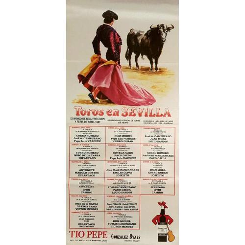 1987 PLAZA DE TOROS DE SEVILLA DEL 19/4AL2/5/ MED 25X50CTM SEDA