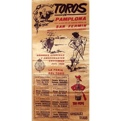 1966 PLAZA DE TOROS DE PAMPLONA DEL 7AL14 JULIO 1966-MED 25X50CTM SEDA