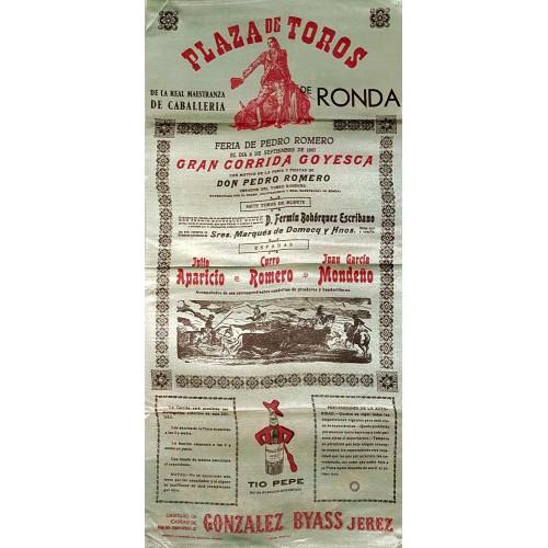 1961 PLAZA DE TOROS DE RONDA 8 SEPT 1961 MED 25X50CTM SEDA