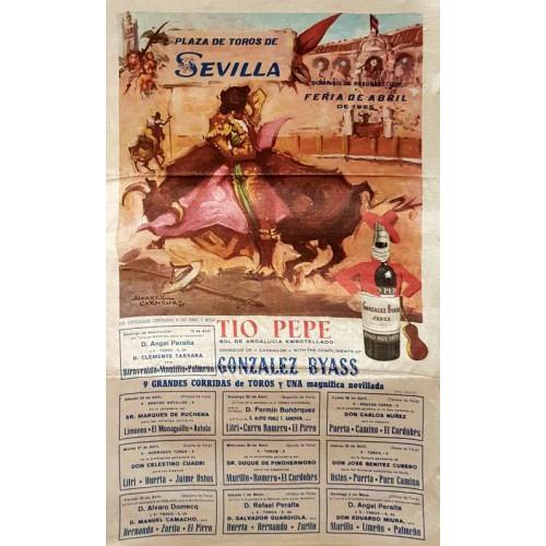 1965 PLAZA DE TOROS  DE SEVILLA DEL 19/4 al 2/5/1965 med 25x50ctm seda
