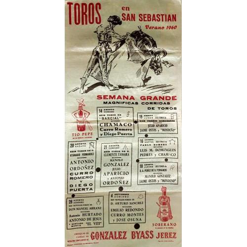 1960 PLAZA DE TOROS DE SAN SEBASTIAN DEL 14/8 AL4/9 1960 MED 25X50CTM SEDA