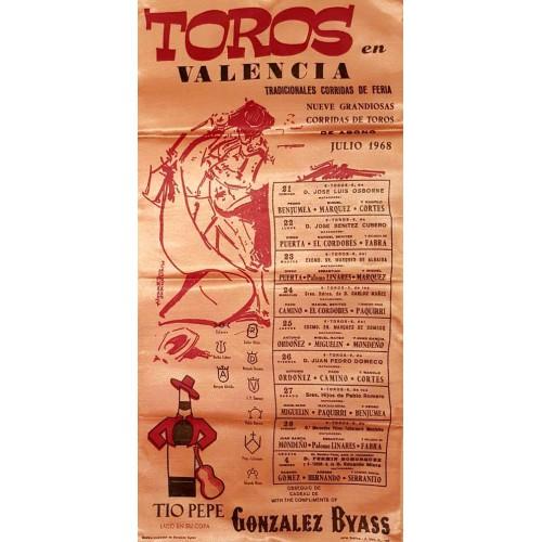1968 PLAZA DE TOROS DE VALENCIA DEL 21/7AL4/8/1968 MED 25X50CTM SEDA