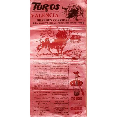 1964 PLAZA DE TOROS DE VALENCIA DEL 19 AL 30 JULIO 1964.- MED 25X50 CTM SEDA
