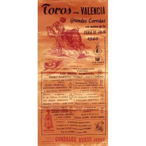1960 PLAZA DE TOROS DE VALENCIA DEL 25/7 al 31 JULIO 1960 MED 25X50CTM.- SEDA