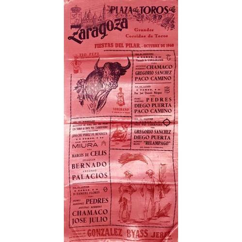 1960 PLAZA DE TOROS DE ZARAGOZA DEL 9 AL 13 OCTUBRE 1960. MED 25X50 CTM SEDA