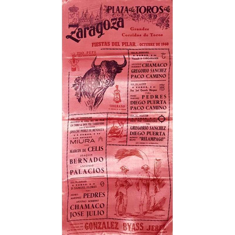 PLAZA DE TOROS DE ZARAGOZA DEL 9 AL 13 OCTUBRE 1960. MED 25X50 CTM SEDA