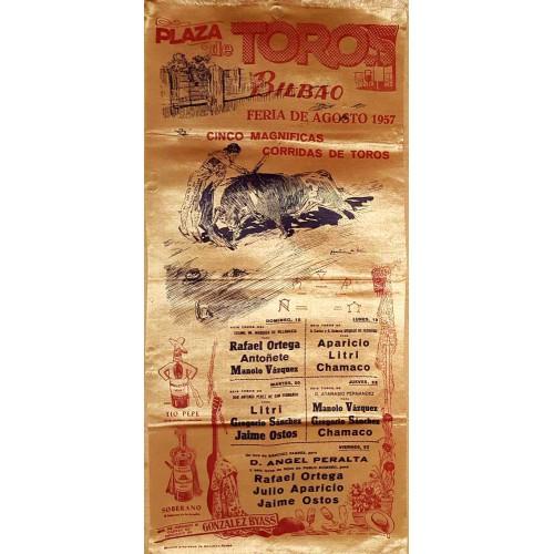 1957 PLAZA DE TOROS DE BILBAO DEL 18AL 23 AGOSTO .- MED 25X50CTM SEDA