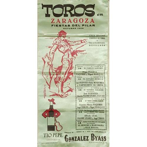 1962 PLAZA DE TOROS DE BILBAO DEL 19 AL 21 JUNIO 1962 MED 25X50CTM.- SEDA