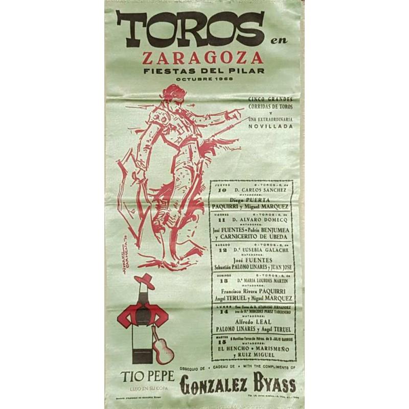 PLAZA DE TOROS DE BILBAO DEL 19 AL 21 JUNIO 1962 MED 25X50CTM.- SEDA