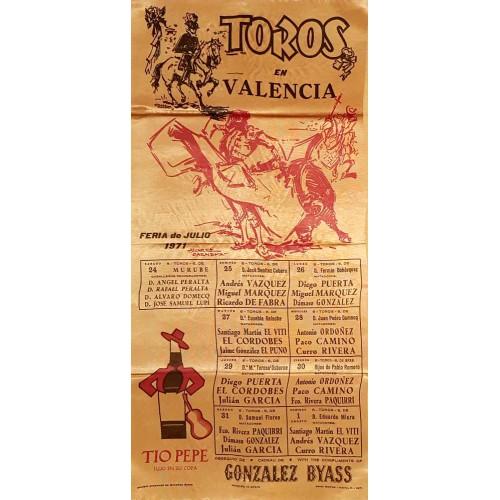 1971-PLAZA DE TOROS DE VALENCIA DEL 14/7 AL 1/8 MED 25X50 EN SEDA