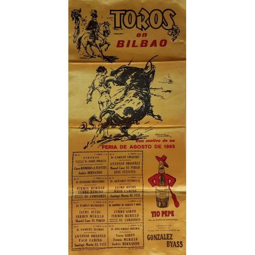 PLAZA DE TOROS DE BILBAO DEL 15AL22 AGOSTO 1965.- MED 25X52CTM.- SEDA