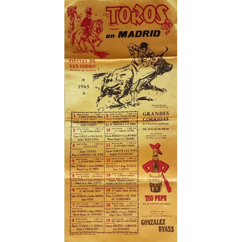 CARTEL TOROS SEDA MADRID DEL 15AL 30 MAYO 1965 MED 25X52 CTMS