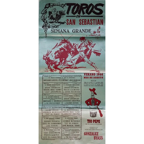 CARTEL TOROS SEDA SAN SEBASTIAN DEL 13 AL 28 AGOSTO 1966 MED 25X52 CTMS