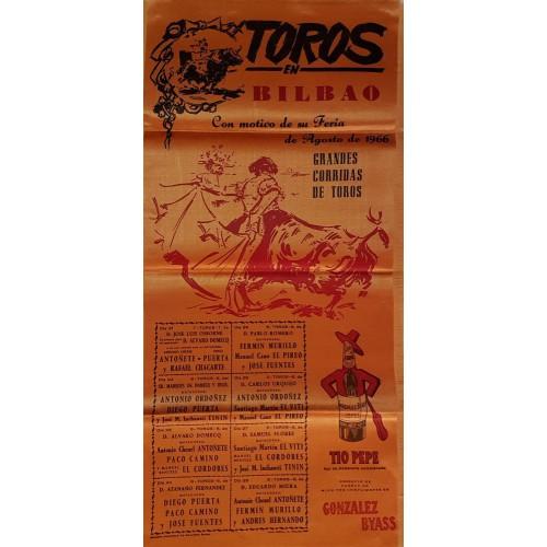 CARTEL TOROS SEDA BILBAO 18 AL 25 AGOSTO 1966 MED 25X50 CTMS